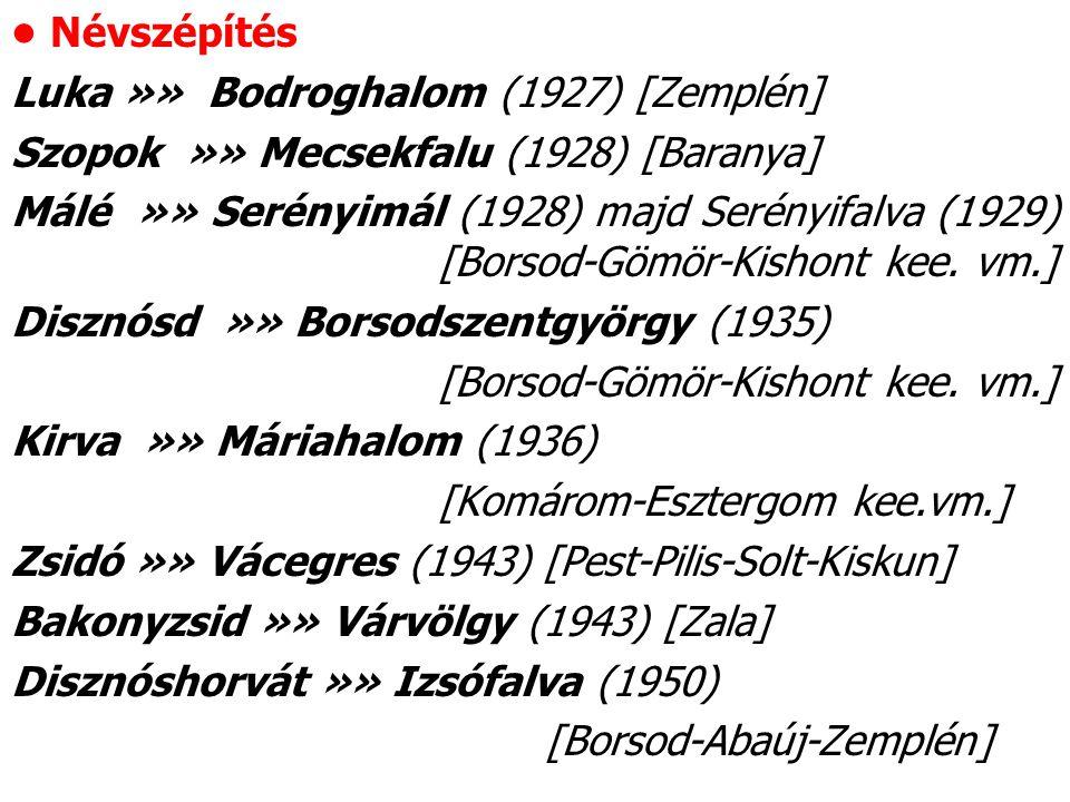 • Névszépítés Luka »» Bodroghalom (1927) [Zemplén] Szopok »» Mecsekfalu (1928) [Baranya]